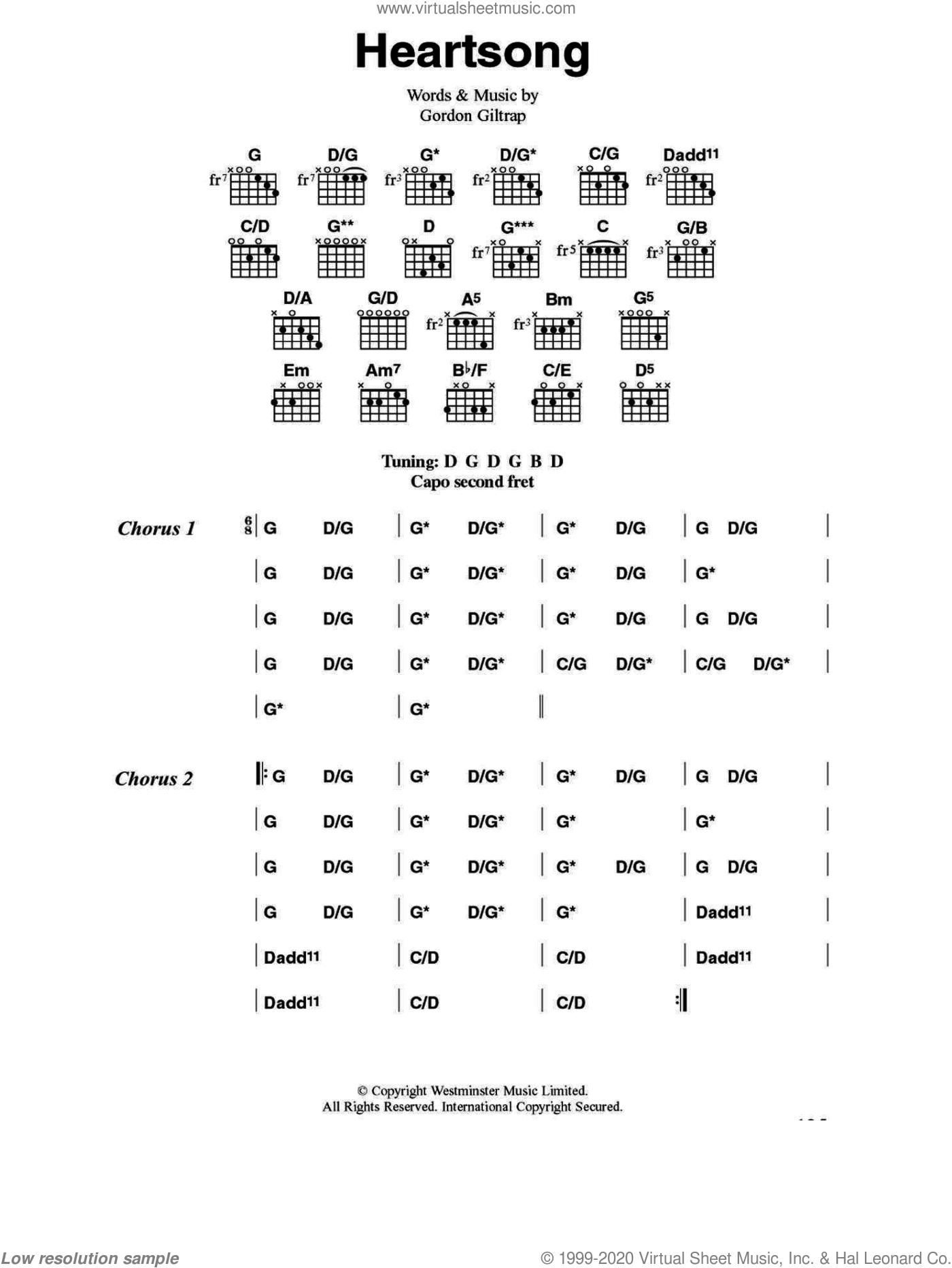 Heartsong sheet music for guitar (chords) by Gordon Giltrap. Score Image Preview.
