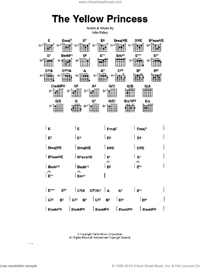 The Yellow Princess sheet music for guitar (chords) by John Fahey, intermediate skill level