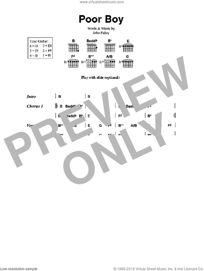 Poor Boy sheet music for guitar (chords) by John Fahey, intermediate. Score Image Preview.