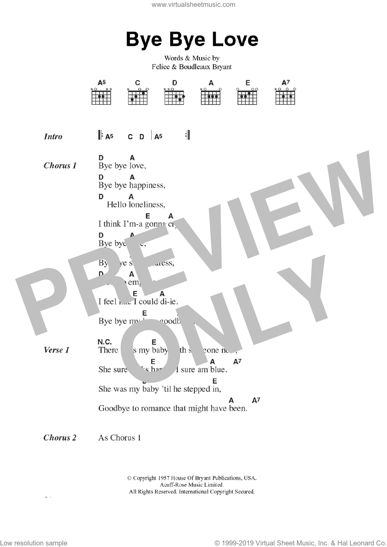 Bye Bye Love sheet music for guitar (chords) by Everly Brothers and Boudleaux Bryant, intermediate. Score Image Preview.