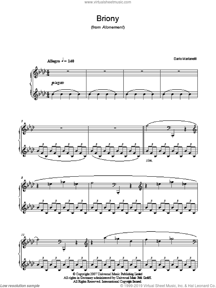 Briony sheet music for piano solo by Dario Marianelli. Score Image Preview.