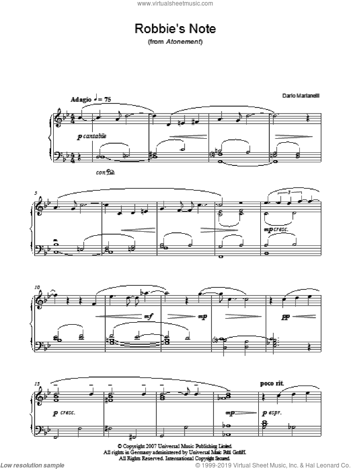 Robbie's Note sheet music for piano solo by Dario Marianelli and Atonement (Movie), intermediate skill level