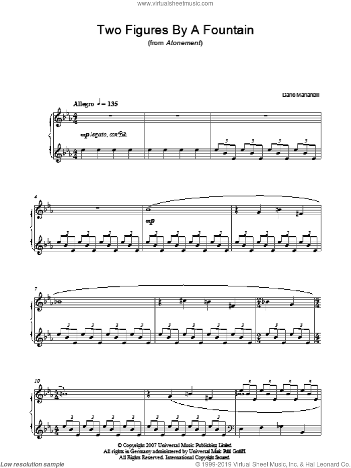 Two Figures By A Fountain sheet music for piano solo by Dario Marianelli. Score Image Preview.