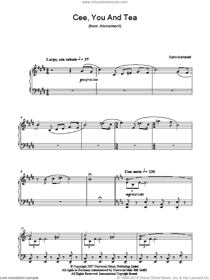 Cee, You And Tea sheet music for piano solo by Dario Marianelli