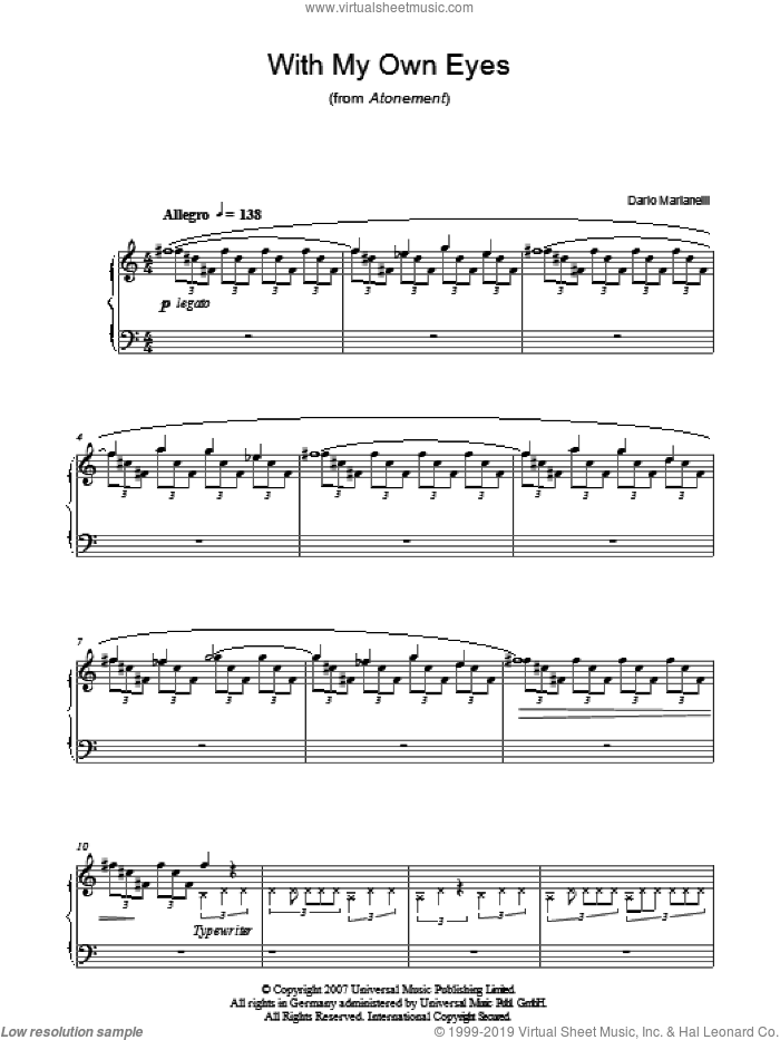 With My Own Eyes sheet music for piano solo by Dario Marianelli and Atonement (Movie), intermediate skill level