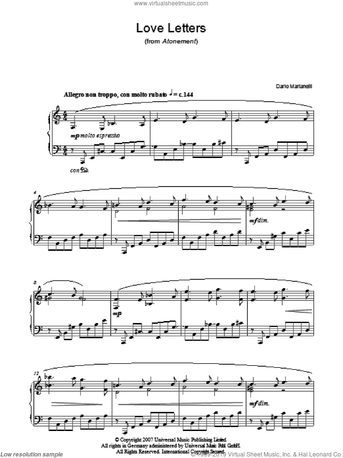 Love Letters sheet music for piano solo by Dario Marianelli and Atonement (Movie), intermediate. Score Image Preview.