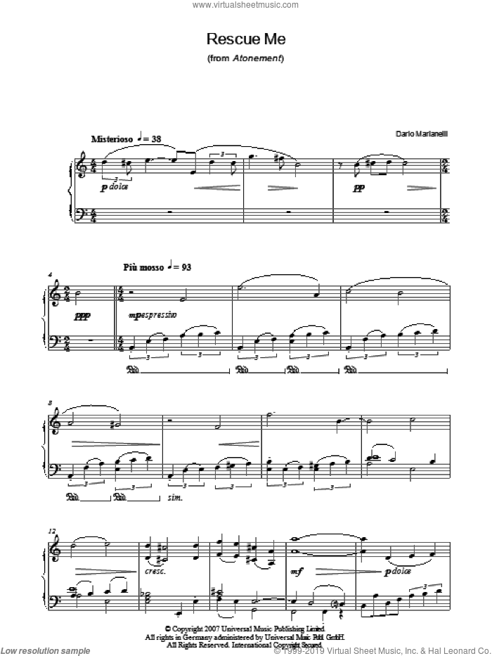 Rescue Me sheet music for piano solo by Dario Marianelli. Score Image Preview.