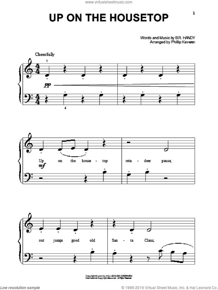 Up On The Housetop sheet music for piano solo (big note book) by Benjamin Hanby. Score Image Preview.