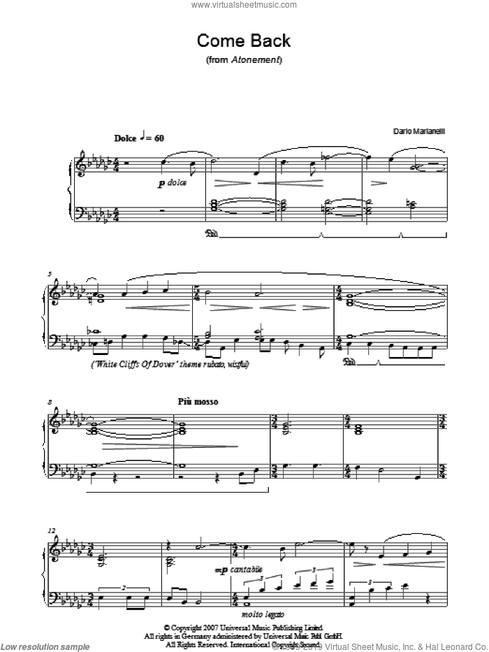 Come Back sheet music for piano solo by Dario Marianelli, intermediate piano. Score Image Preview.