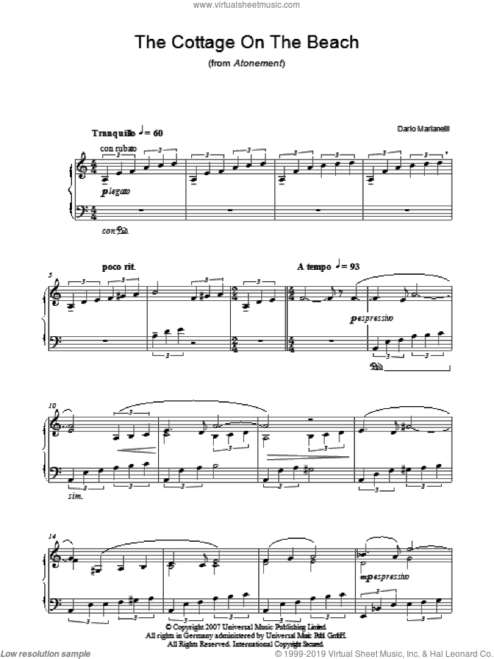 The Cottage On The Beach sheet music for piano solo by Dario Marianelli, intermediate. Score Image Preview.