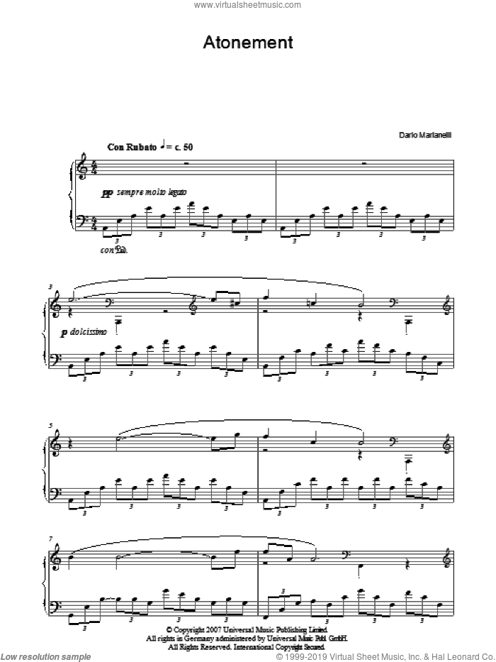 Atonement sheet music for piano solo by Dario Marianelli