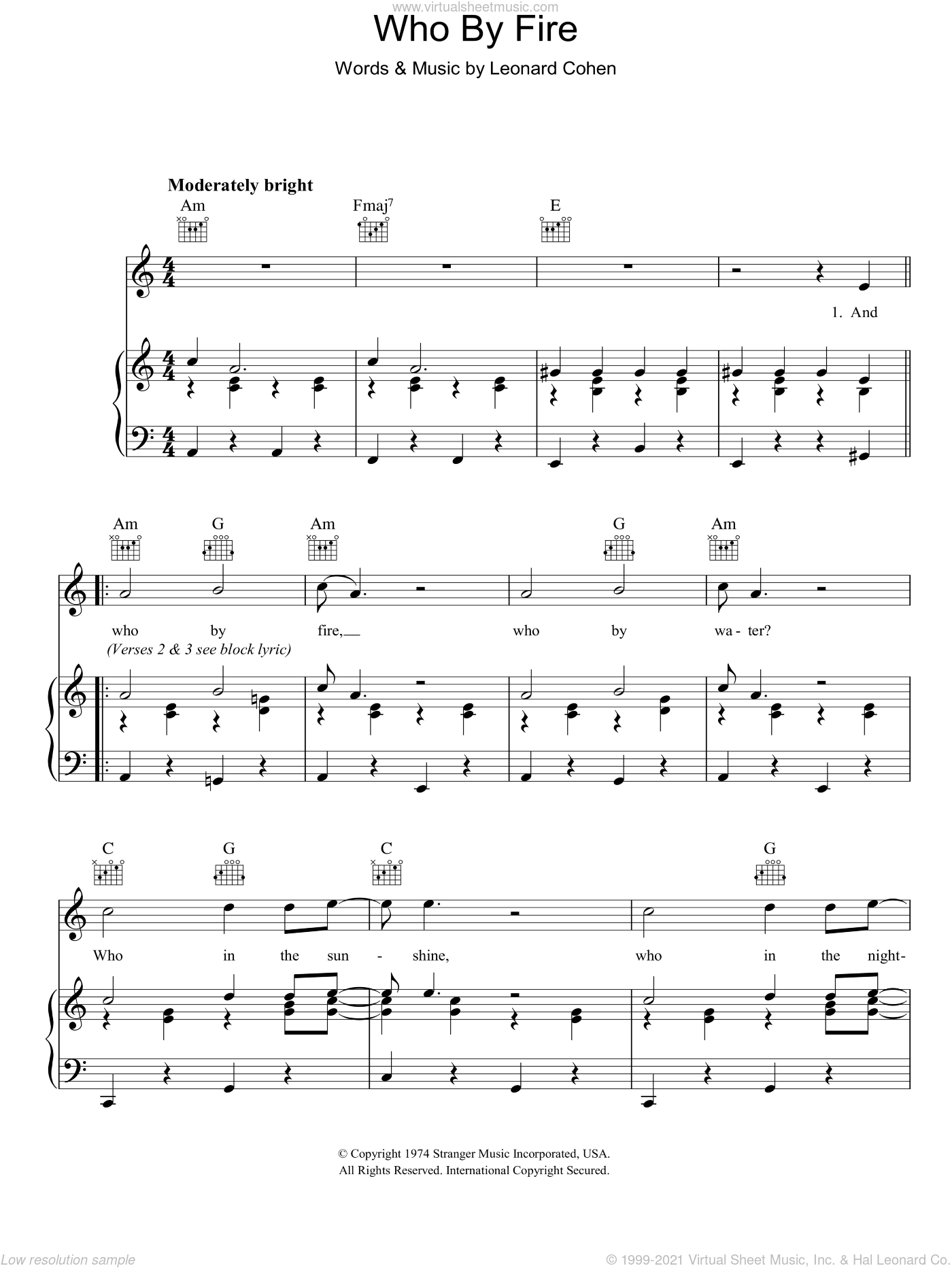 Who By Fire sheet music for voice, piano or guitar by Leonard Cohen. Score Image Preview.