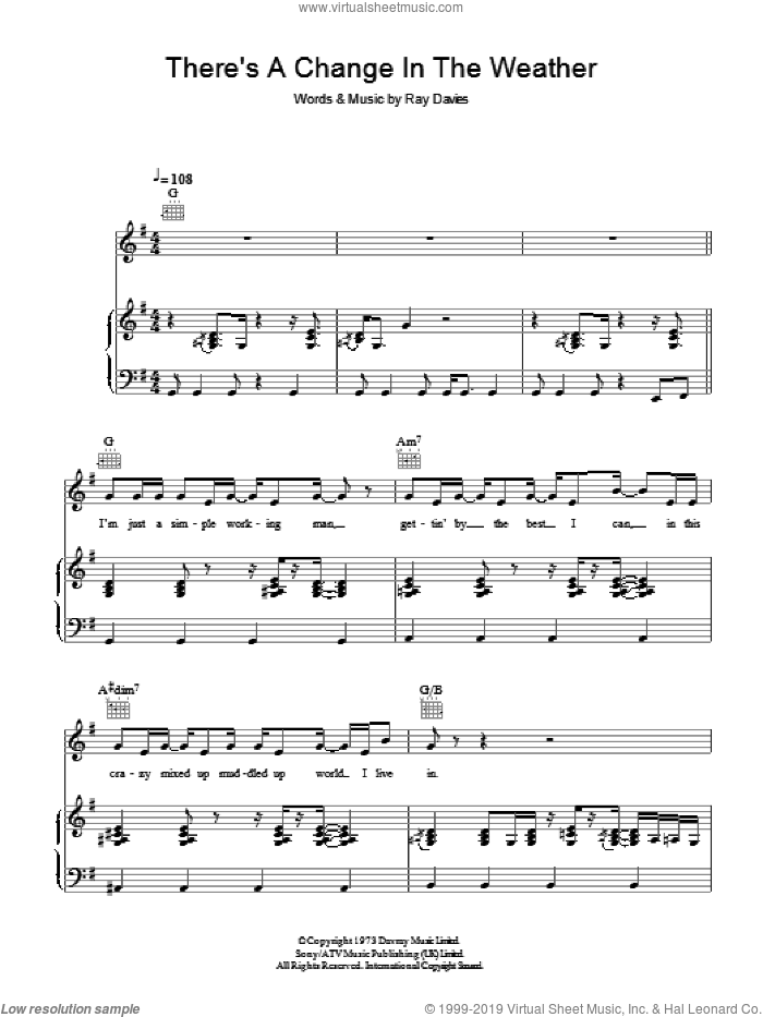 There's A Change In The Weather sheet music for voice, piano or guitar by The Kinks and Ray Davies, intermediate