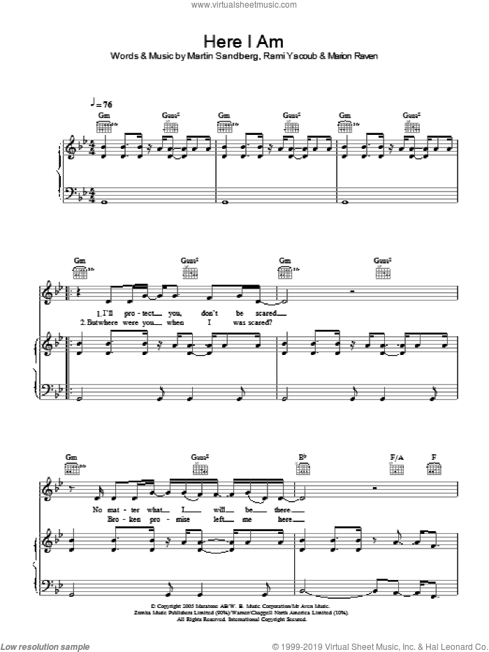 Here I Am sheet music for voice, piano or guitar by Martin Sandberg and Rami. Score Image Preview.