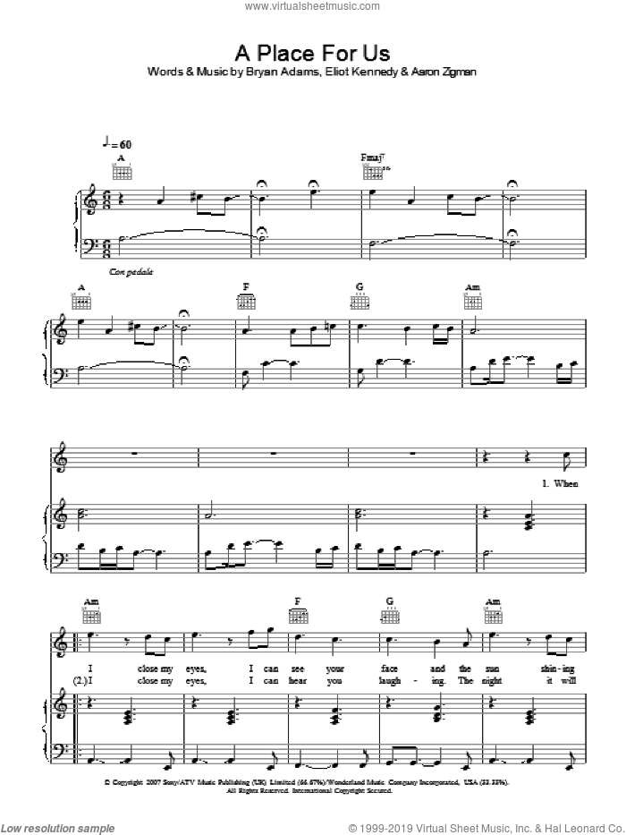A Place For Us sheet music for voice, piano or guitar by Tyler James, Leigh Nash, Aaron Zigman, Bryan Adams and Eliot Kennedy, intermediate voice, piano or guitar. Score Image Preview.