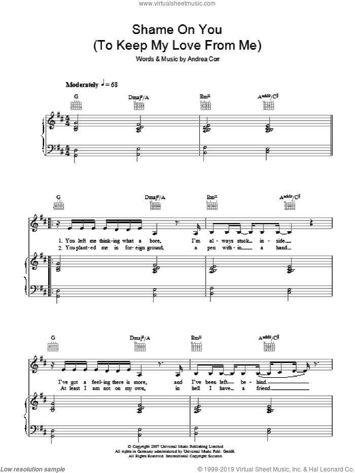 Shame On You (To Keep My Love From Me) sheet music for voice, piano or guitar by Andrea Corr. Score Image Preview.