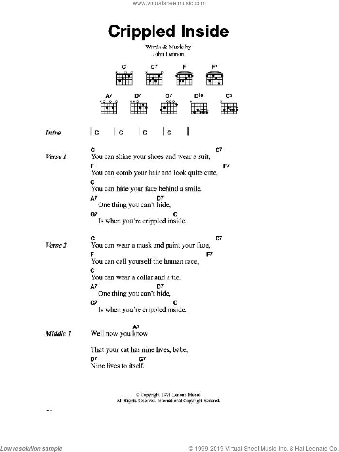Crippled Inside sheet music for guitar (chords) by John Lennon, intermediate skill level