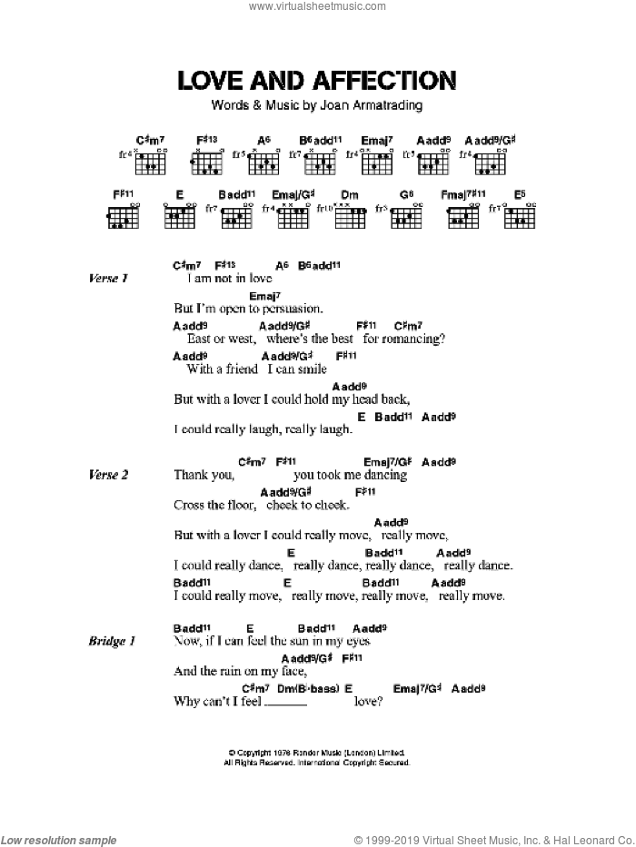 Love And Affection sheet music for guitar (chords) by Joan Armatrading, intermediate guitar (chords). Score Image Preview.