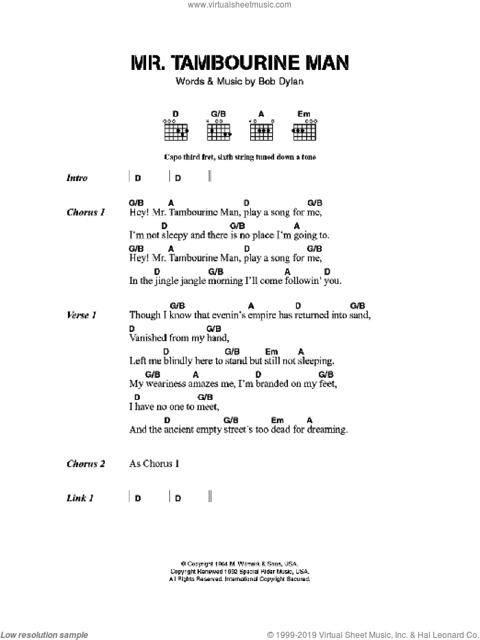 Mr. Tambourine Man sheet music for guitar (chords) by Bob Dylan, intermediate skill level