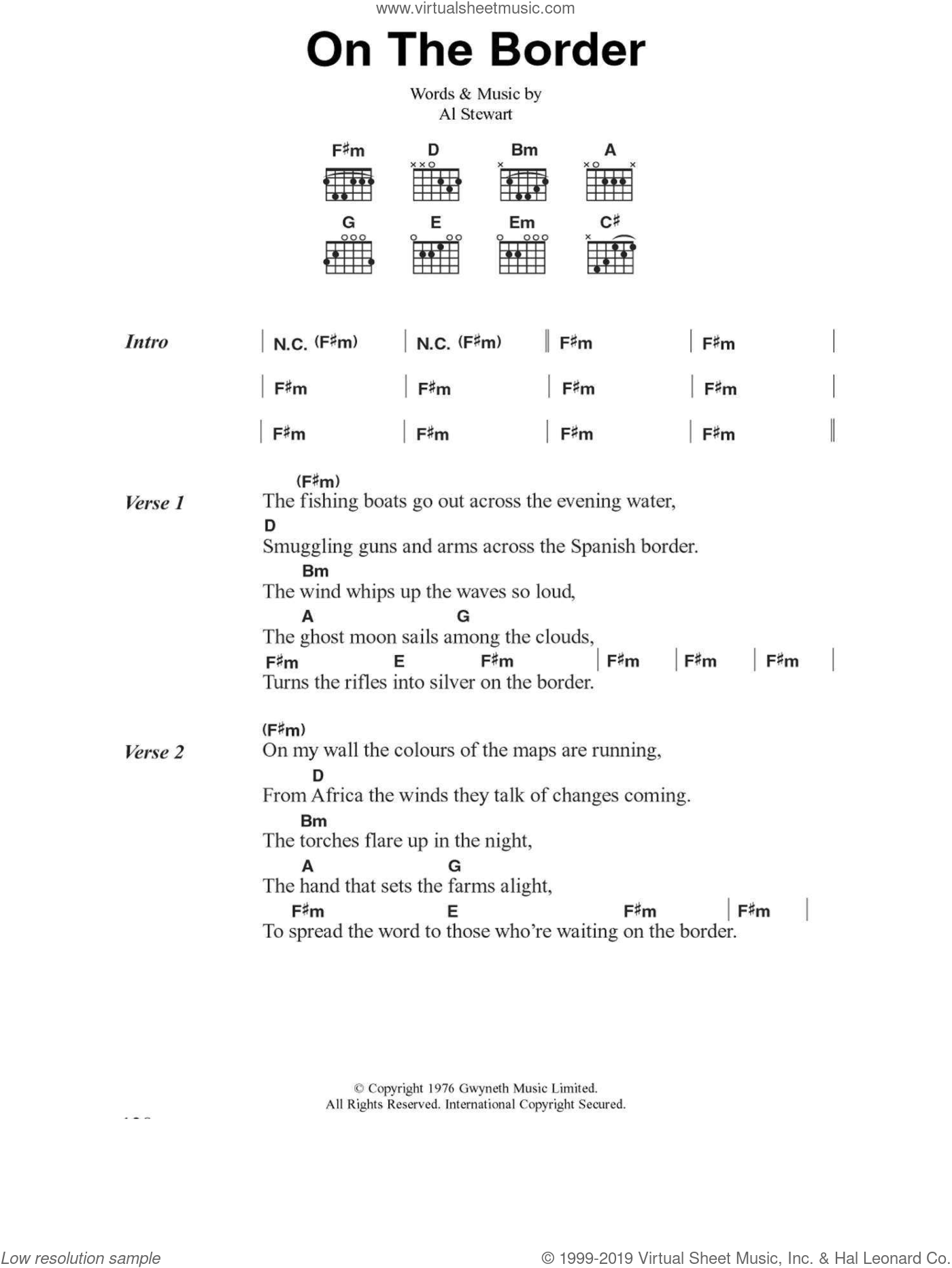 Stewart - On The Border sheet music for guitar (chords) [PDF]