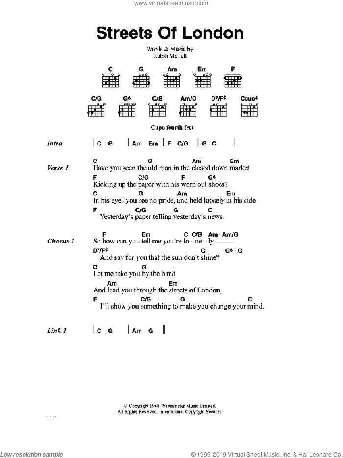 Streets Of London sheet music for guitar (chords) by Ralph McTell, intermediate skill level