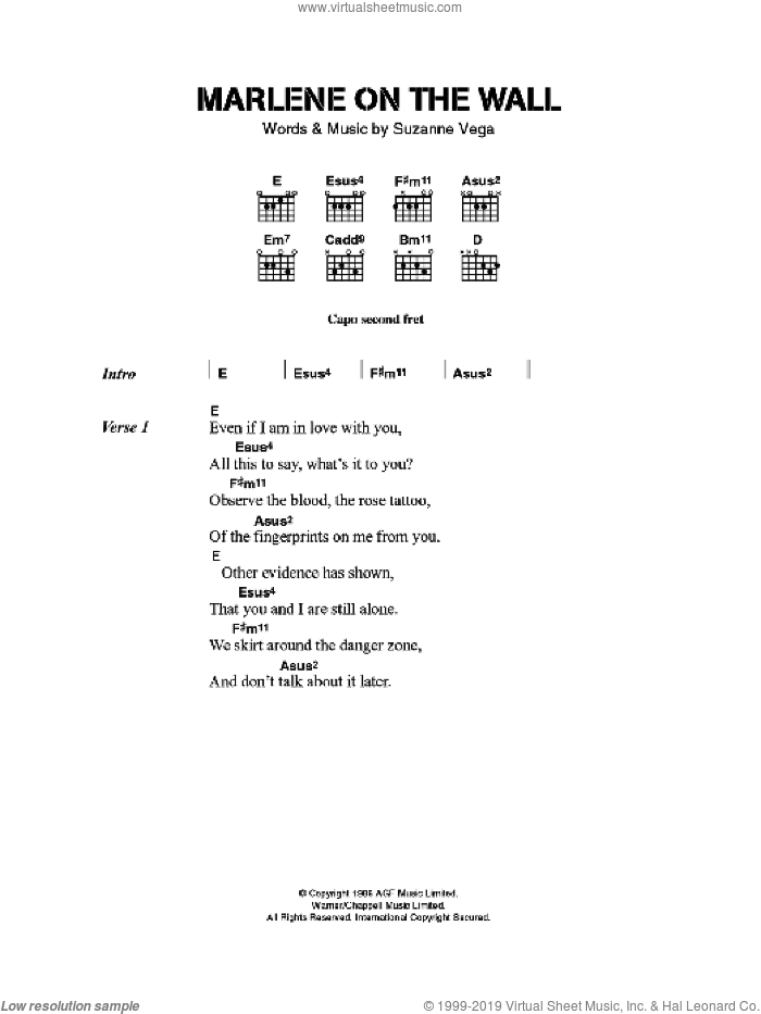 Marlene On The Wall sheet music for guitar (chords) by Suzanne Vega. Score Image Preview.