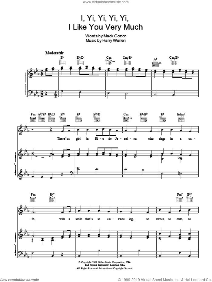I Yi, Yi, Yi, Yi (Like You Very Much) sheet music for voice, piano or guitar by Andrews Sisters, The Andrews Sisters, Harry Warren and Mack Gordon, intermediate skill level