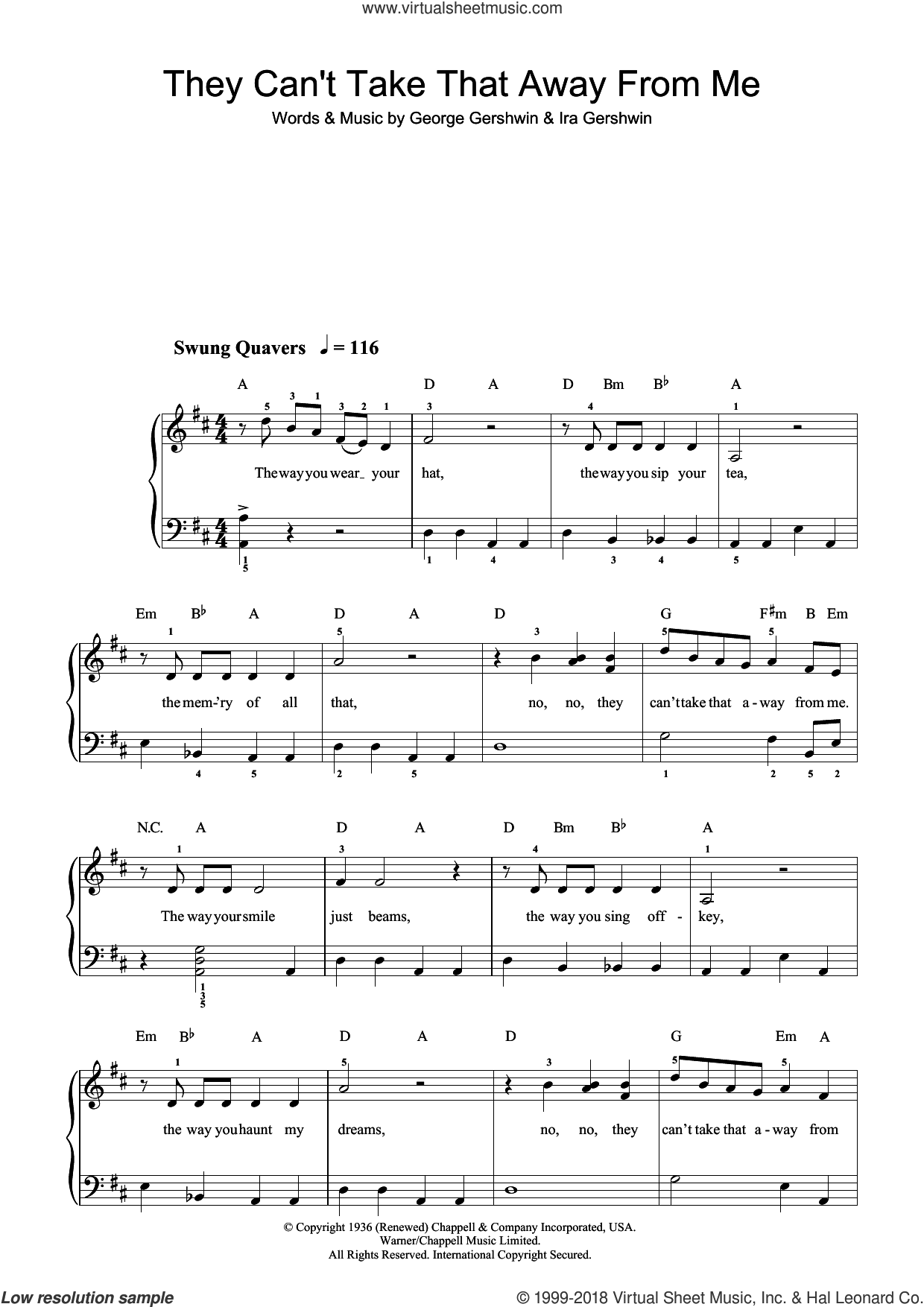 They Can't Take That Away From Me sheet music for piano solo by Ira Gershwin and George Gershwin. Score Image Preview.