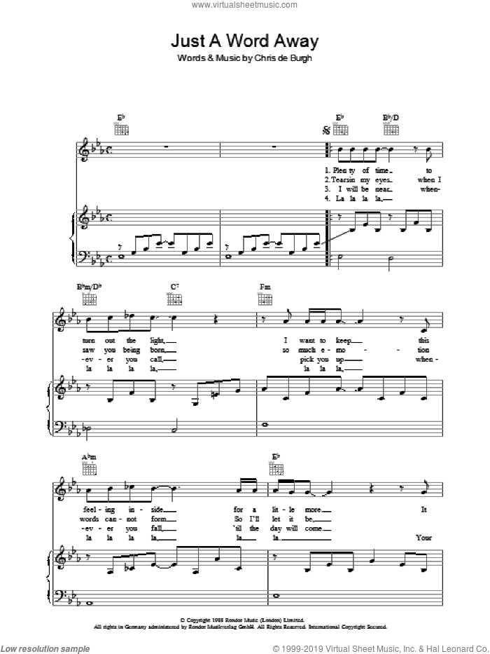 Just A Word Away sheet music for voice, piano or guitar by Chris de Burgh. Score Image Preview.