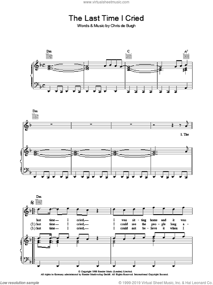 The Last Time I Cried sheet music for voice, piano or guitar by Chris de Burgh, intermediate. Score Image Preview.