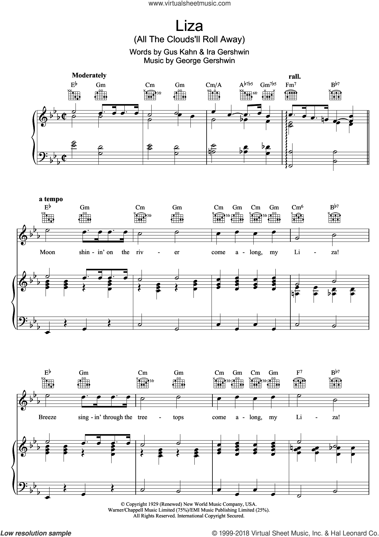 Liza (All The Clouds'll Roll Away) sheet music for voice, piano or guitar by George Gershwin, Gus Kahn and Ira Gershwin, intermediate skill level