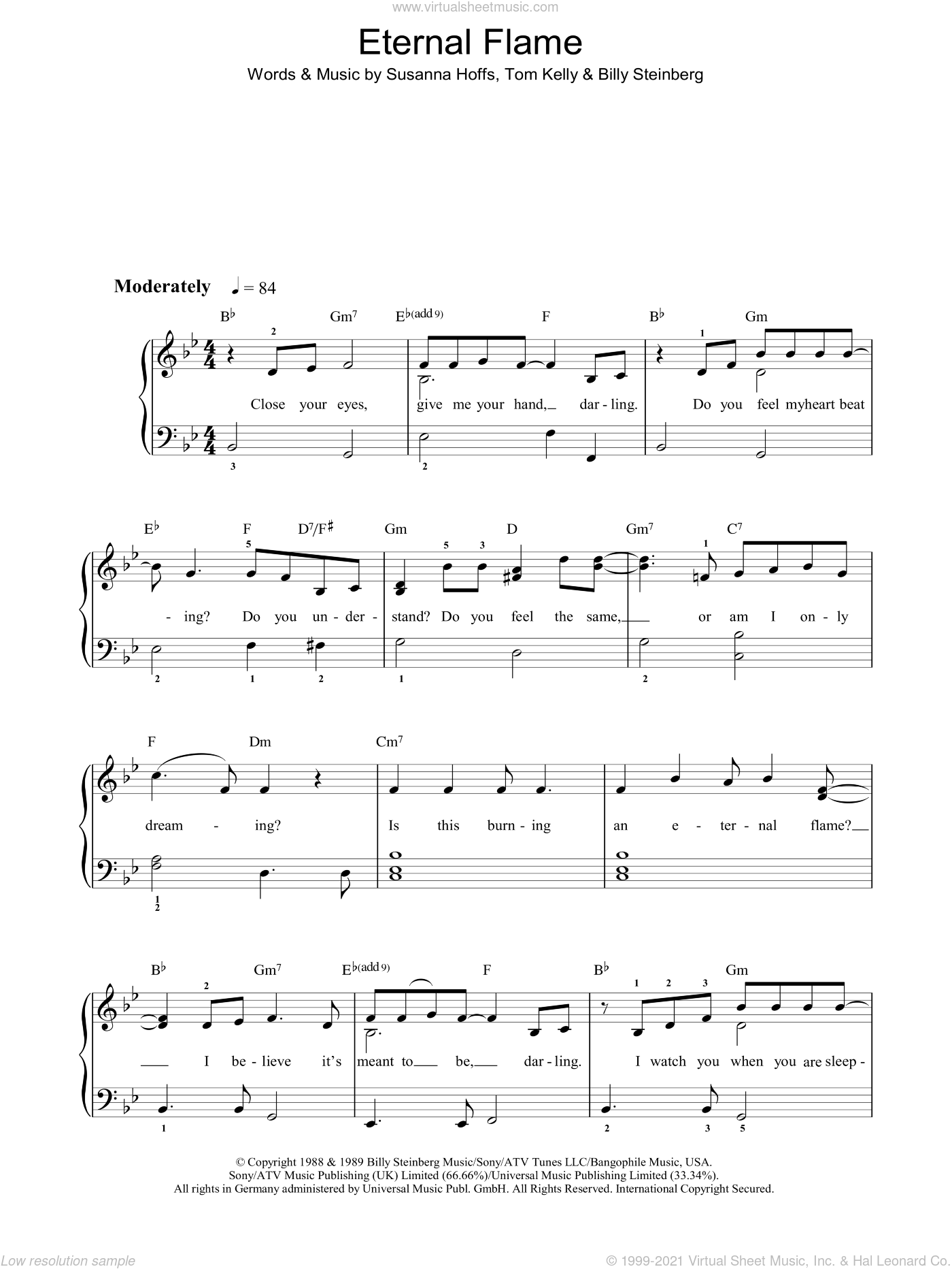 Eternal Flame sheet music for piano solo by Billy Steinberg, The Bangles and Tom Kelly. Score Image Preview.