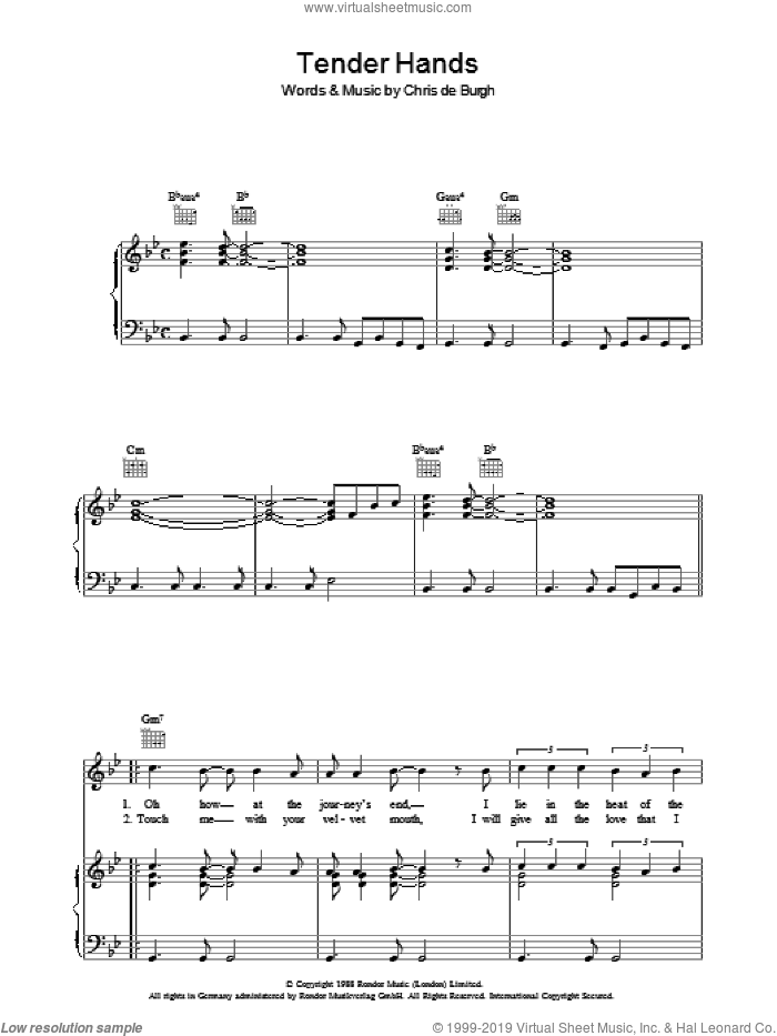Tender Hands sheet music for voice, piano or guitar by Chris de Burgh. Score Image Preview.