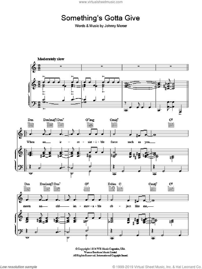 Something's Gotta Give sheet music for voice, piano or guitar by Johnny Mercer. Score Image Preview.