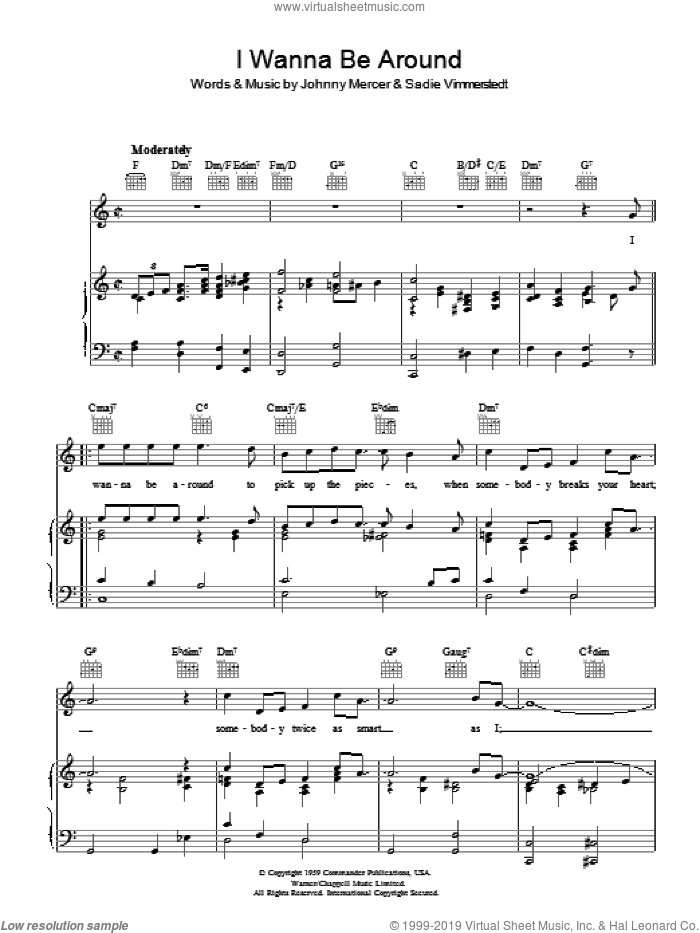 I Wanna Be Around sheet music for voice, piano or guitar by Johnny Mercer and Sadie Vimmerstedt, intermediate. Score Image Preview.