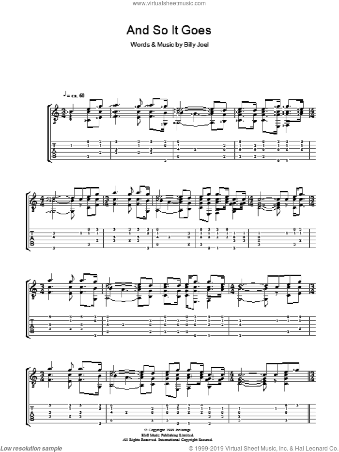 And So It Goes sheet music for guitar (tablature) by Billy Joel, intermediate skill level