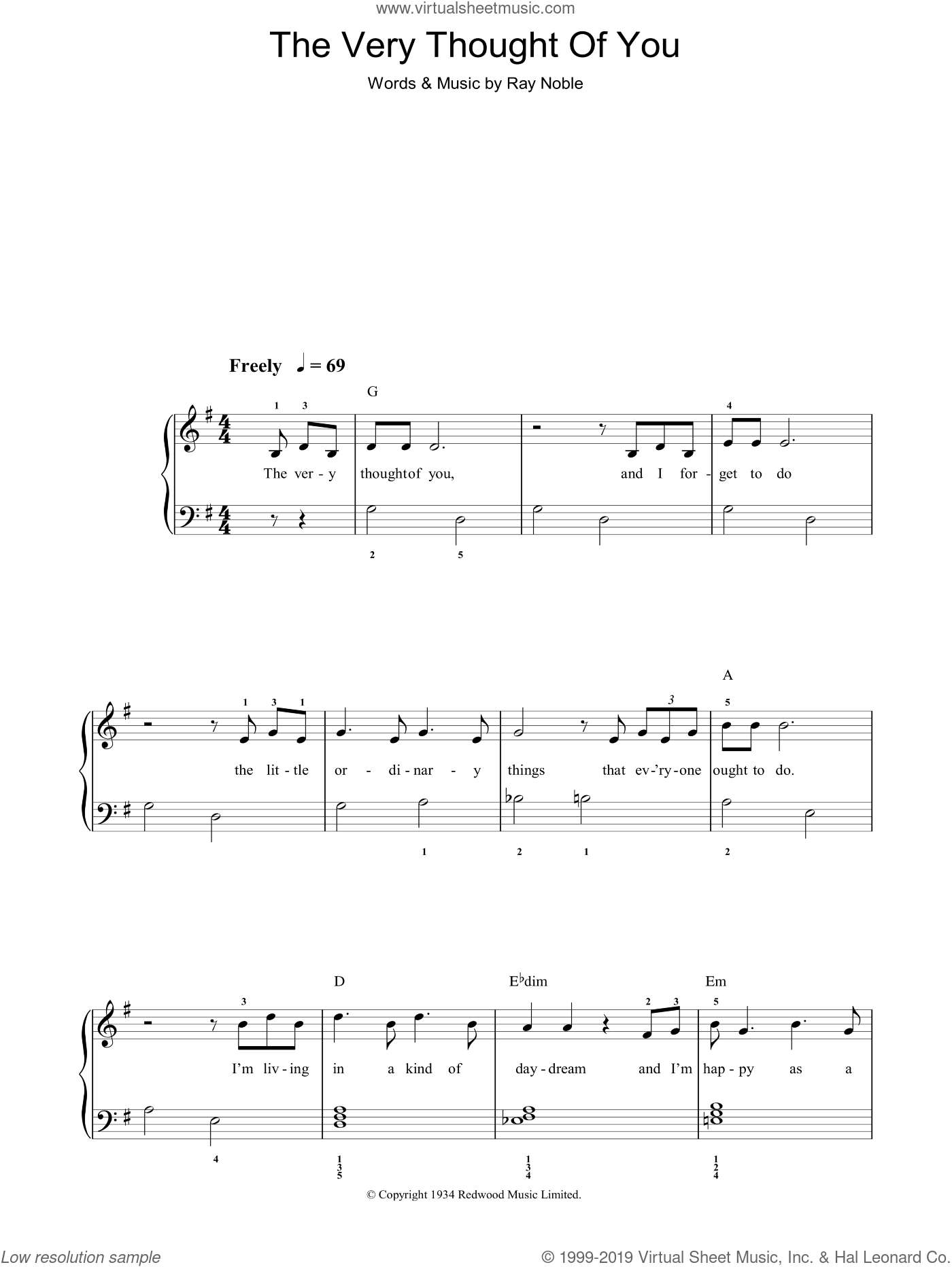 The Very Thought Of You sheet music for piano solo (chords) by Ray Noble