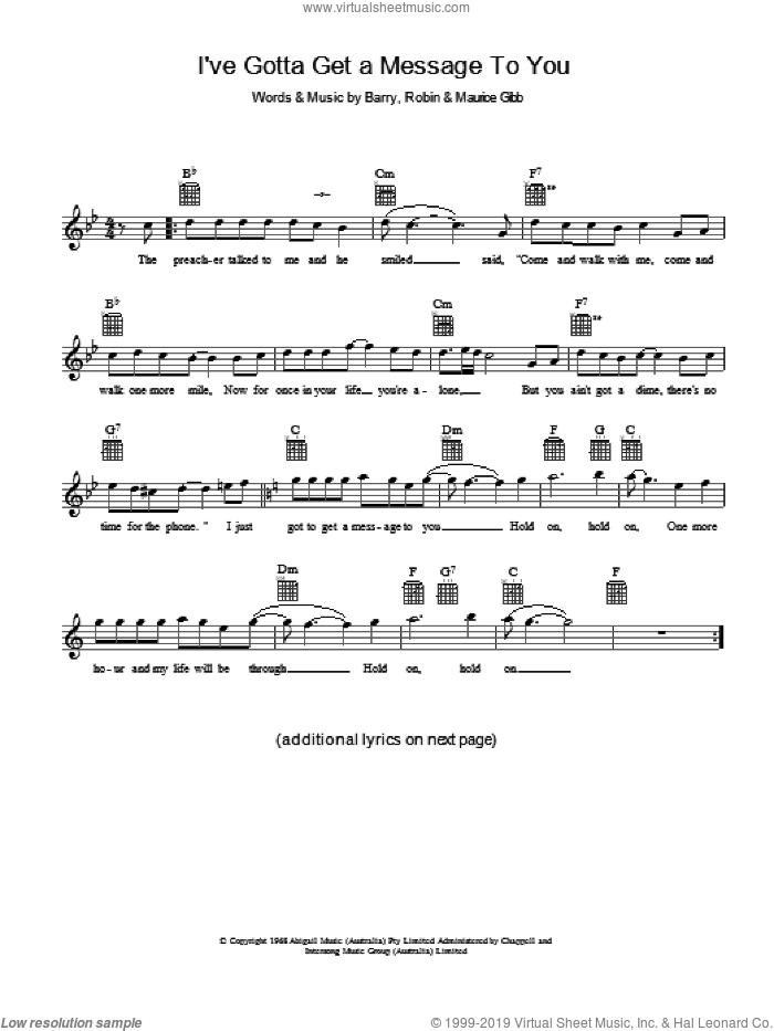 I've Gotta Get A Message To You sheet music for voice and other instruments (fake book) by Bee Gees, Barry Gibb, Maurice Gibb and Robin Gibb. Score Image Preview.