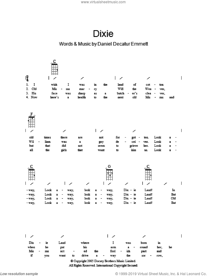 Dixie sheet music for guitar solo (chords, lyrics, melody) by Daniel Decatur Emmett