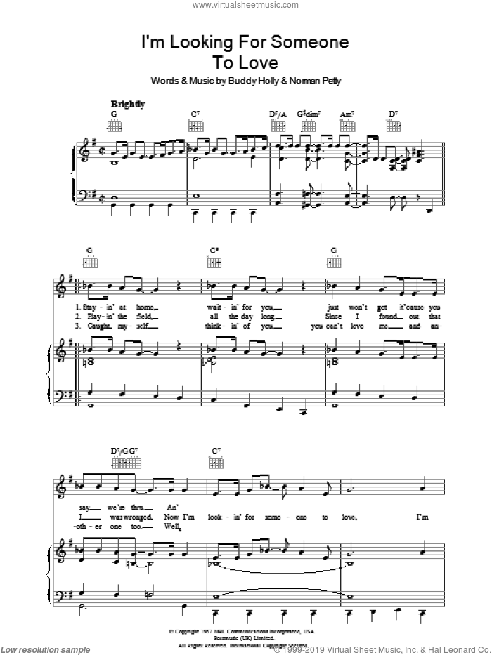 I'm Looking For Someone To Love sheet music for voice, piano or guitar by Buddy Holly and Norman Petty, intermediate skill level
