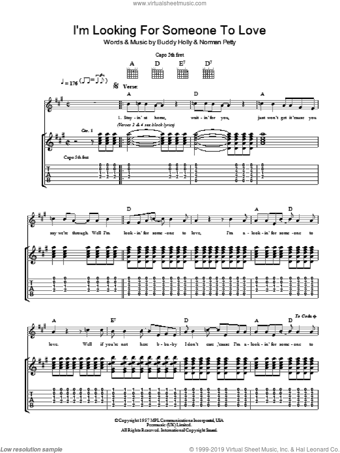 I'm Looking For Someone To Love sheet music for guitar (tablature) by Norman Petty and Buddy Holly. Score Image Preview.