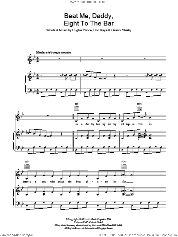 Beat Me Daddy, Eight To The Bar sheet music for voice, piano or guitar by Don Raye