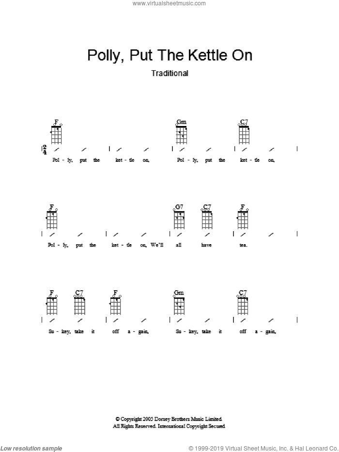 Polly Put The Kettle On sheet music for guitar (chords), intermediate guitar (chords). Score Image Preview.