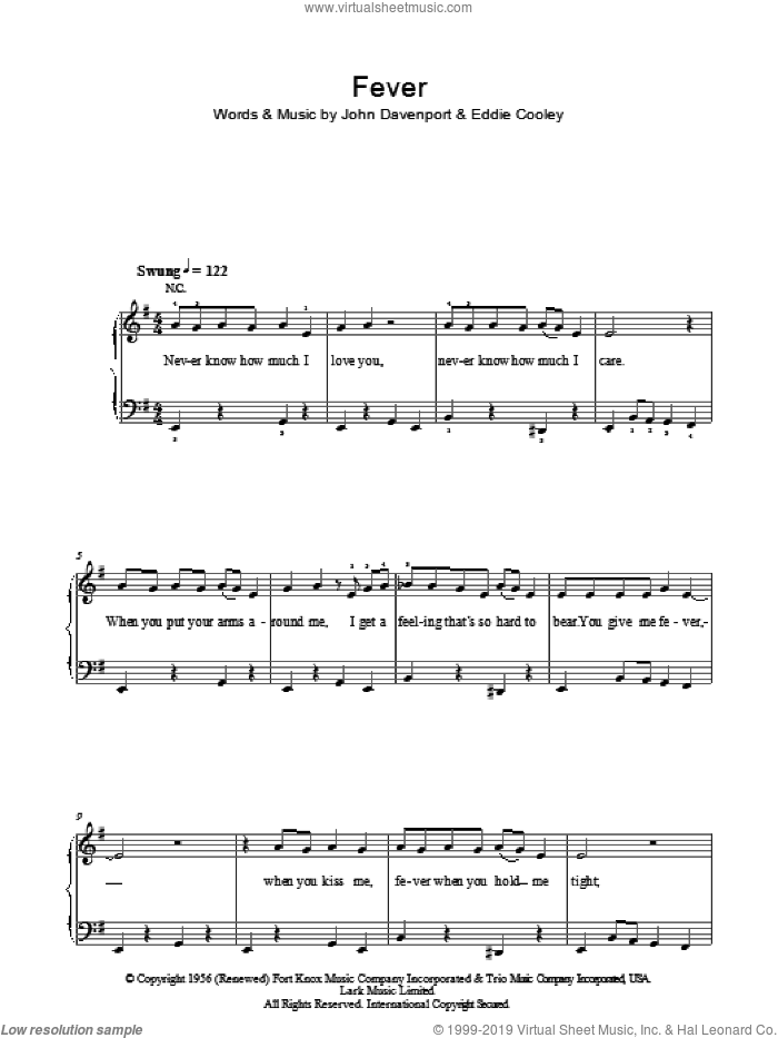 Fever sheet music for piano solo by Peggy Lee, Eddie Cooley and John Davenport, easy skill level