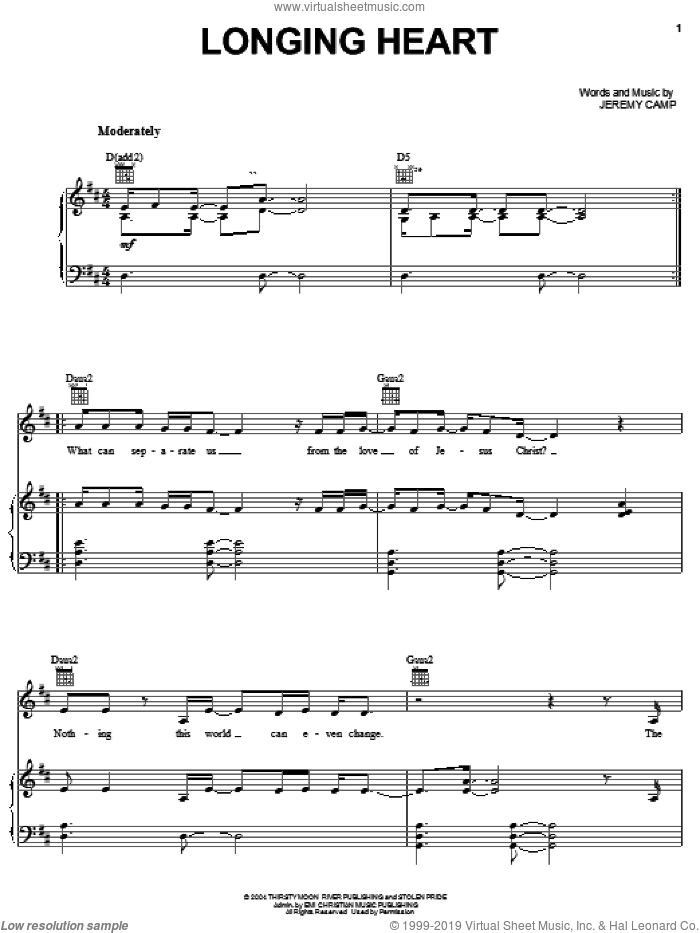 Longing Heart sheet music for voice, piano or guitar by Jeremy Camp, intermediate skill level