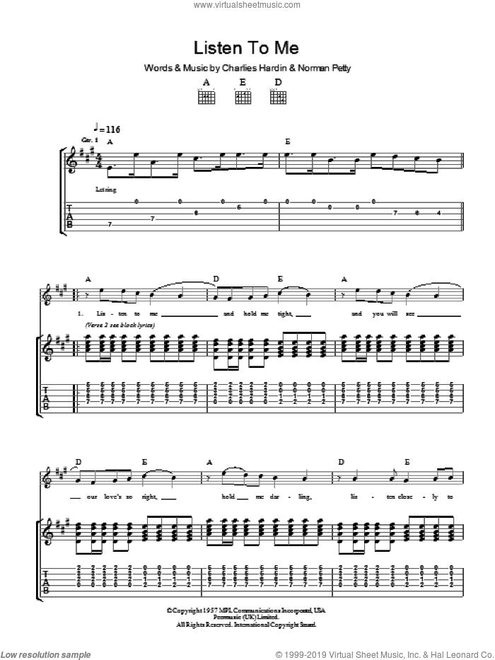 Listen To Me sheet music for guitar (tablature) by Charles Hardin, Buddy Holly and Norman Petty. Score Image Preview.