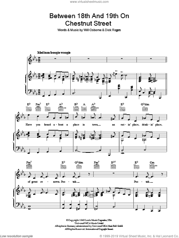 Between 18th And 19th On Chestnut Street sheet music for voice, piano or guitar by Bing Crosby and Dick Rogers. Score Image Preview.