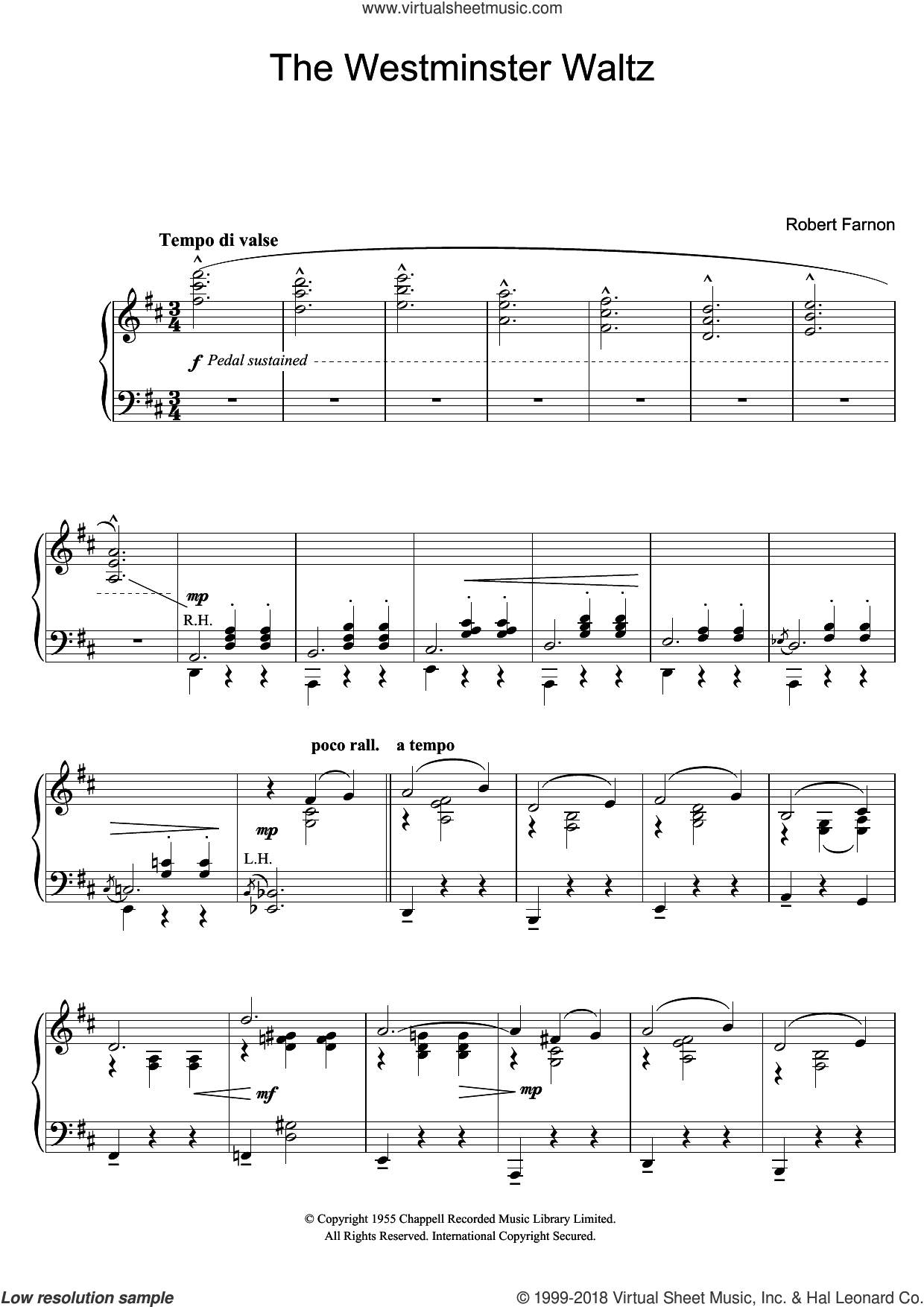 The Westminster Waltz sheet music for piano solo by Robert Farnon, classical score, intermediate. Score Image Preview.