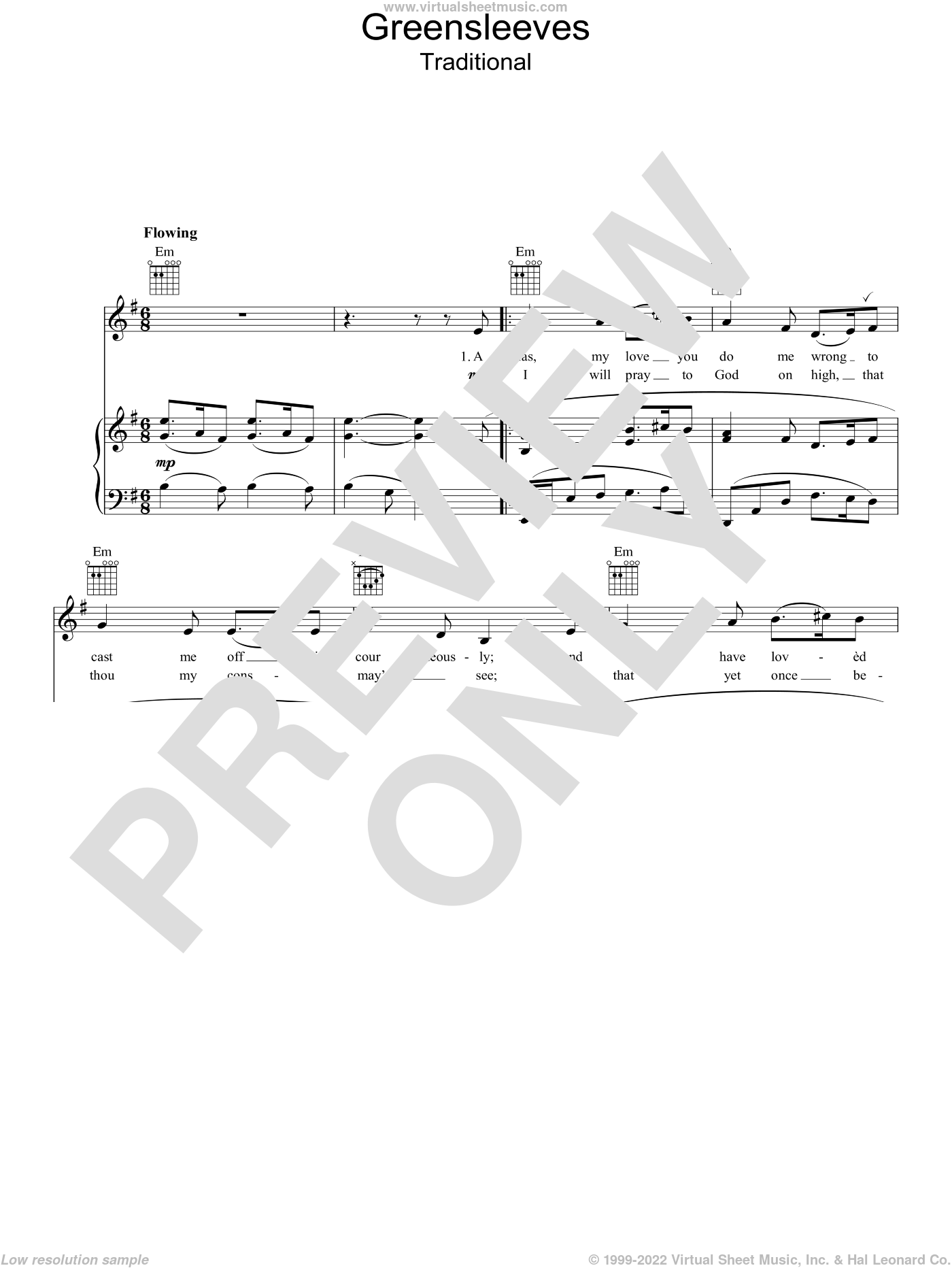Greensleeves sheet music for voice, piano or guitar, intermediate skill level