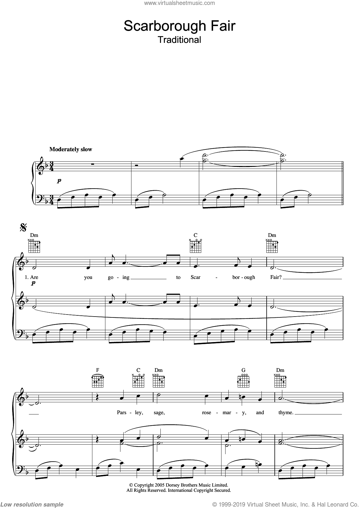 Scarborough Fair sheet music for voice, piano or guitar. Score Image Preview.